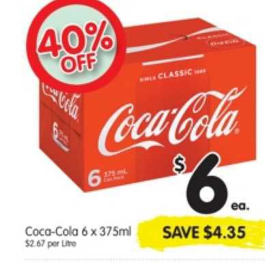 SPAR Coca-cola 6 X 375ml