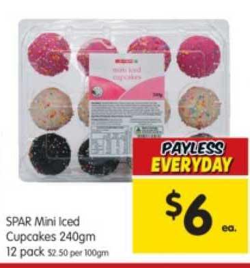 SPAR Spar Mini Iced Cupcakes 240gm