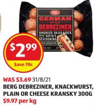 ALDI Berg Debreziner Knackwurst Plain Or Cheese Kransky