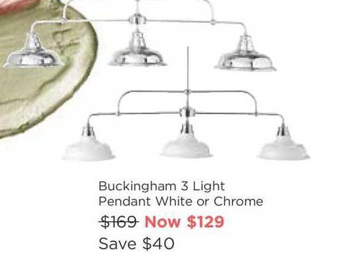 Early Settler Buckingham 3 Light Pendant White Or Chrome