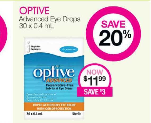 Priceline Optive Advanced Eye Drops 30 X 0,4 Ml