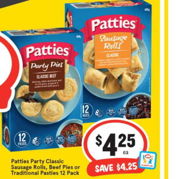 IGA Patties Party Classic Sausage Rolls, Beef Pies Or Traditional Pasties 12 Pack