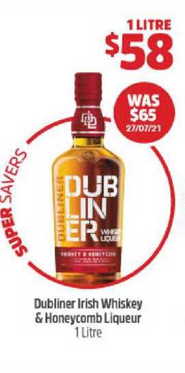 BWS Dubliner Irish Whiskey & Honeycomb Liqueur 1 Litre