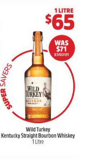 BWS Wild Turkey Kentucky Straight Bourbon Whiskey 1 Litre