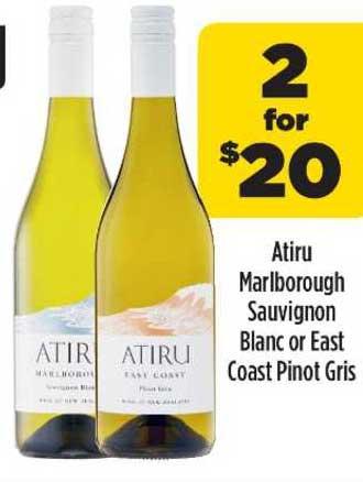 Liquorland Atiru Marlborough Sauvignon Blanc Or East Coast Pinot Gris