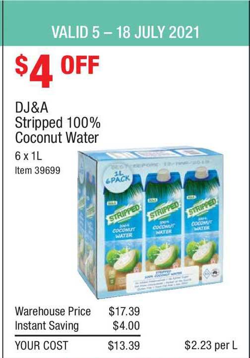 Costco Dj&a Stripped 100% Coconut Water
