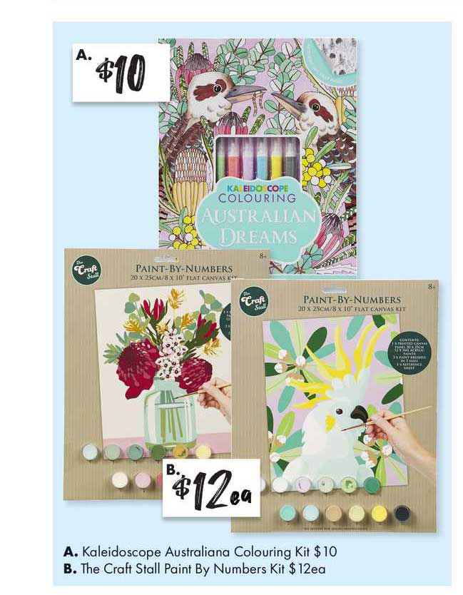 The Reject Shop Kaleidoscope Australiana Colouring Kit, The Craft Stall Paint By Numbers Kit
