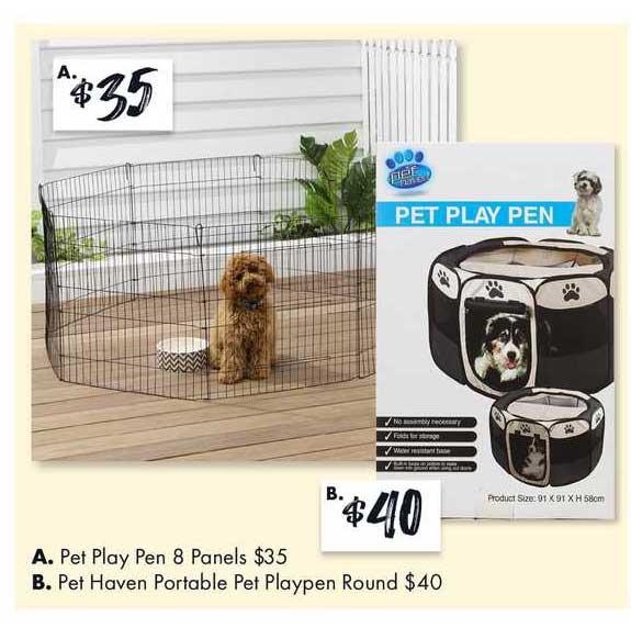 The Reject Shop Pet Play Pen 8 Panels, Pet Haven Portable Pet Playpen Round