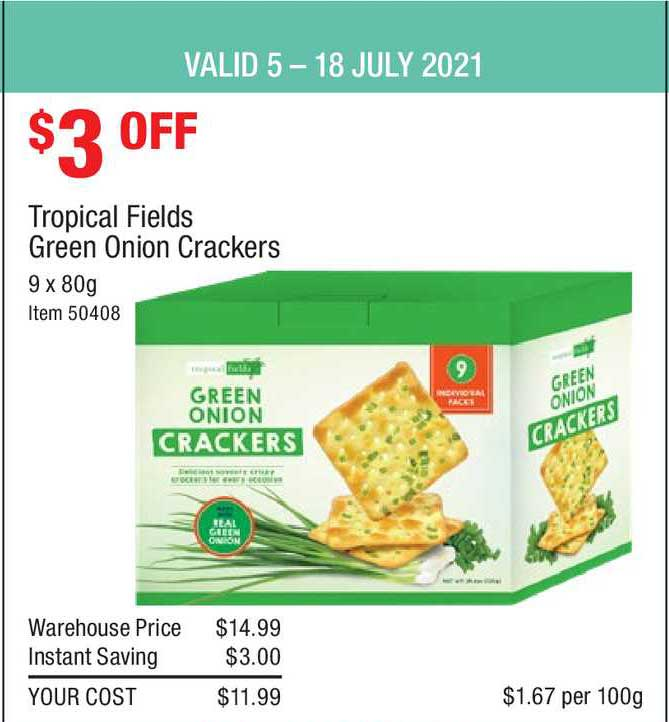 Costco Tropical Fields Green Onion Crackers