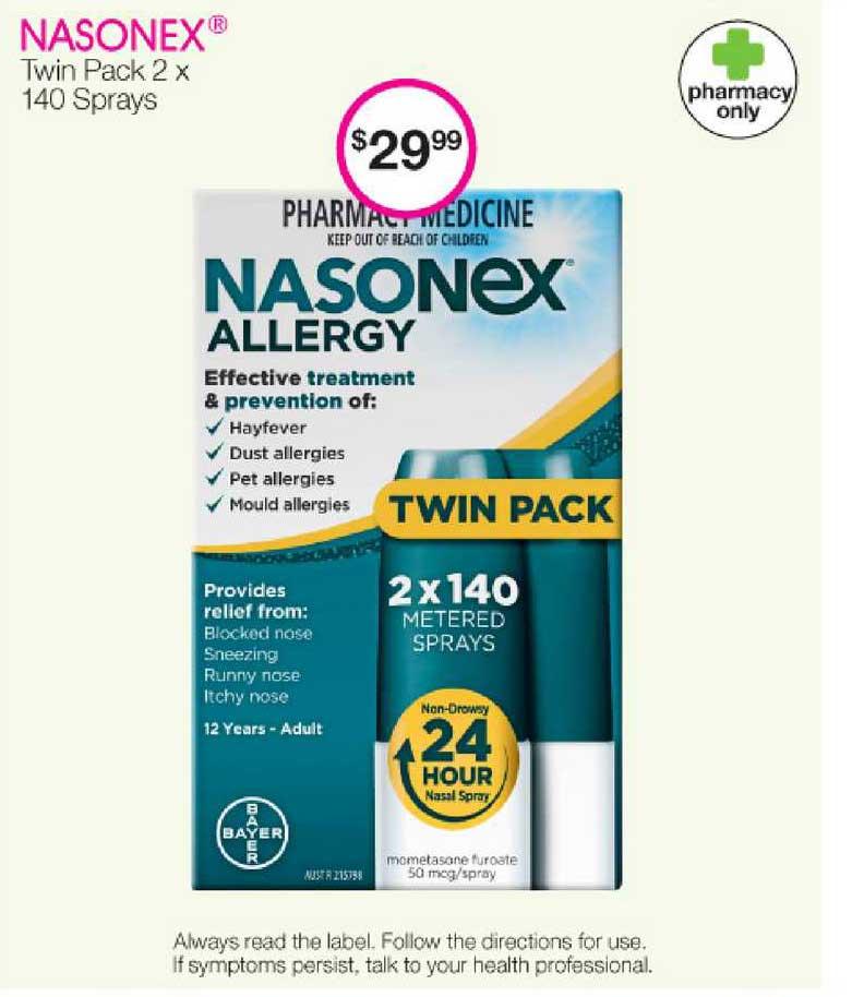 Priceline Nasonex Twin Pack 2x 140 Sprays