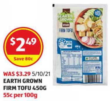 ALDI Earth Grown Firm Tofu 450g