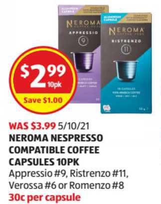 ALDI Neroma Nespresso Compatible Coffee Capsules