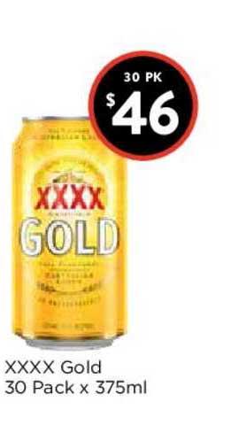 FoodWorks Xxxx Gold 30 Pack X 375ml