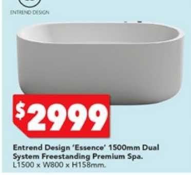 Harvey Norman Entrend Design 'essence' 1500mm Dual System Freestanding Premium Spa