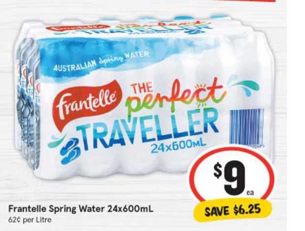 IGA Frantelle Spring Water 24x600mL