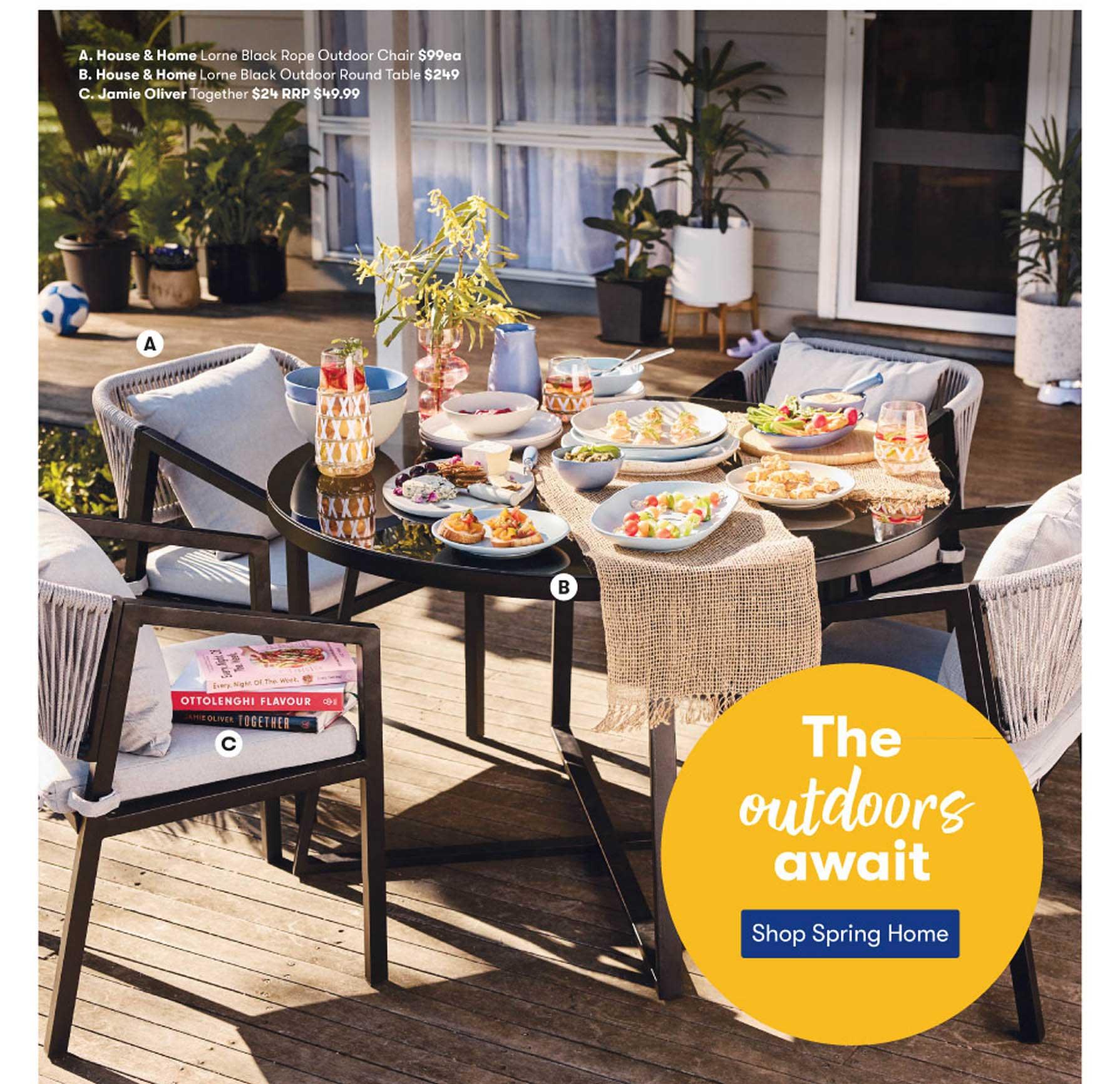 Woolworths House & Home Lorne Black Rope Outdoor Chair, House & Home Lorne Black Outdoor Round Table Or Jaime Oliver Together