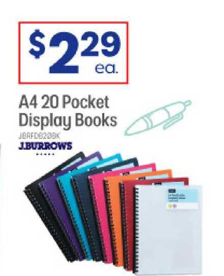 Officeworks A4 20 Pocket Display Books J.burrows