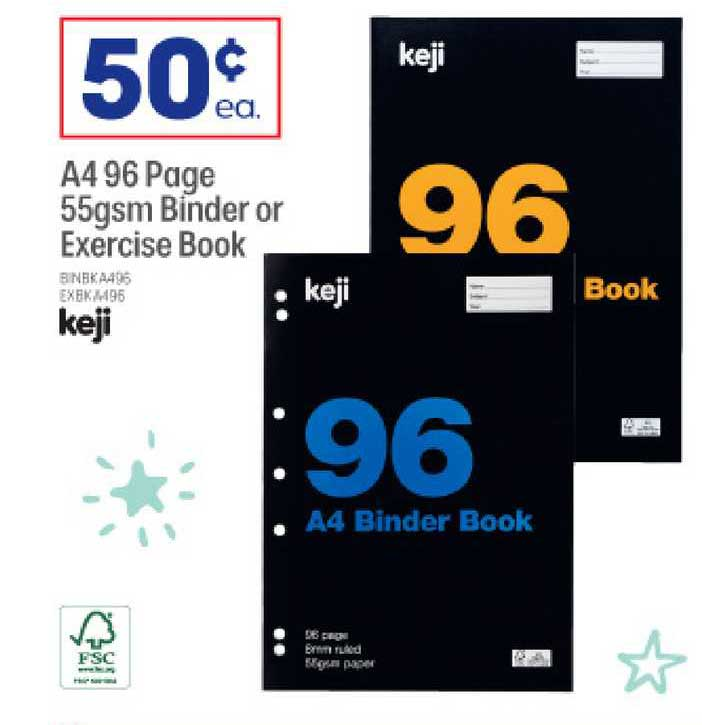 Officeworks A4 96 Page 55gsm Binder Or Exercise Book Keji