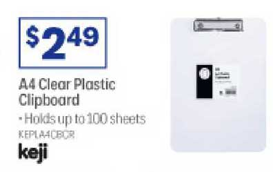 Officeworks A4 Clear Plastic Clipboard