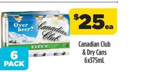 Liquorland Canadian Club & Dry Cans