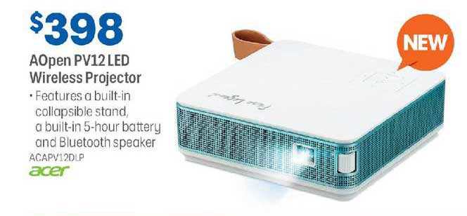 Officeworks Acer Aopen Pv12 Led Wireless Projector