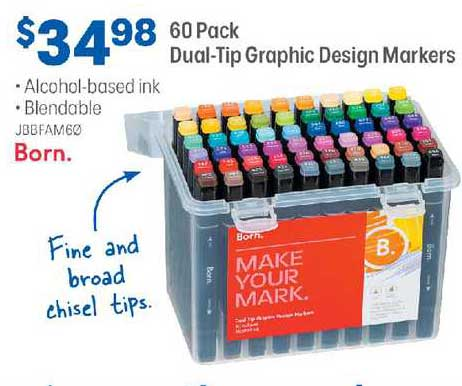 Officeworks Born. 60 Pack Dual-tip Graphic Design Markers