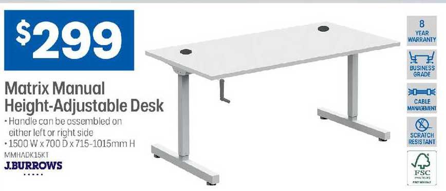Officeworks J.burrows Matrix Manual Height-adjustable Desk