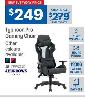 Officeworks J.burrows Typhoon Pro Gaming Chair
