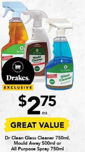 Drakes Dr Clean Glass Cleaner 750ml, Mould Away 500ml Or All Purpose Spray 750ml