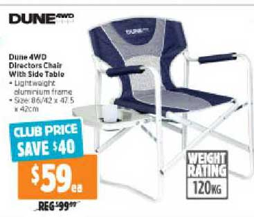 Anaconda Dune 4WD Directors Chair With Side Table