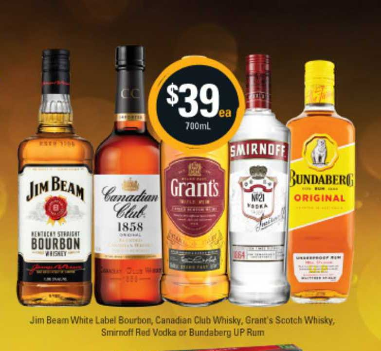 Cellarbrations Jim Beam White Label Bourbon , Canadian Club Whisky , Grant's Scotch Whisky , Smirnoff Red Vodka Or Bundaberg UP Rum