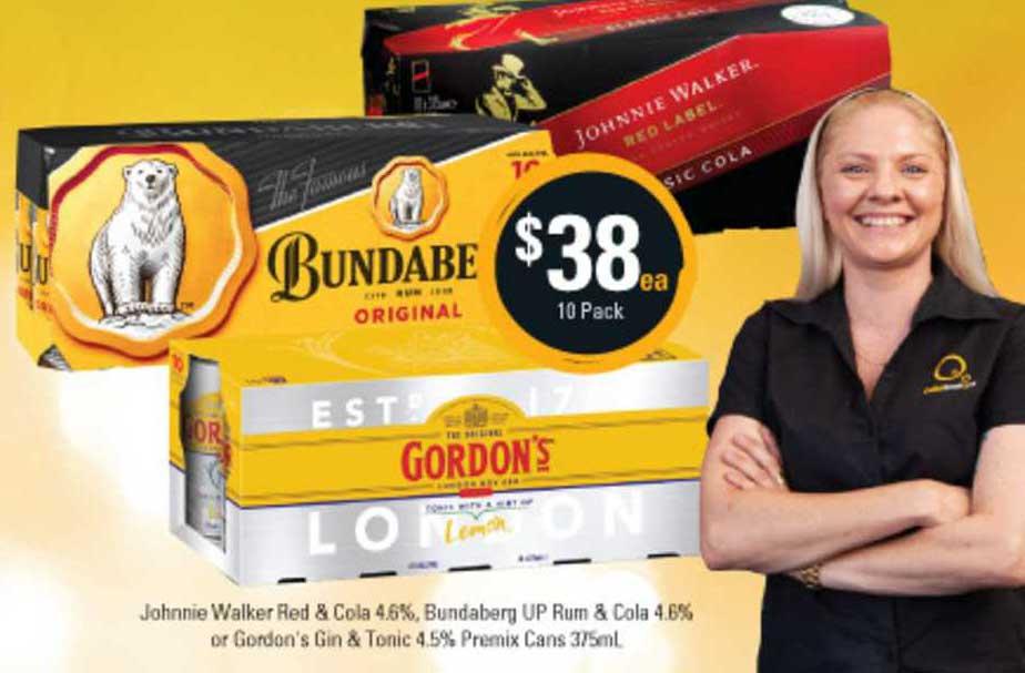Cellarbrations Johnnie Walker Red & Cola 4.6% , Bundaberg UP Rum & Cola 4.6% Orb Gordon's Gin & Tonic 4.5% Premix Cans 375ml