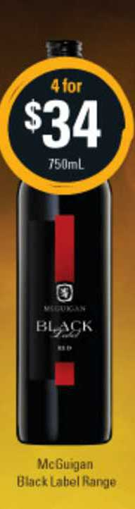 Cellarbrations McGuigan Black Label Range
