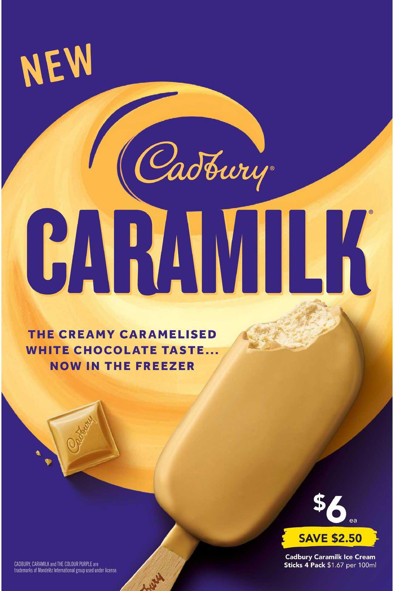 Drakes Cadbury Caramilk Ice Cream Sticks 4 Pack
