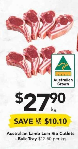Drakes Australian Lamb Loin Rib Cutlets - Bulk Tray