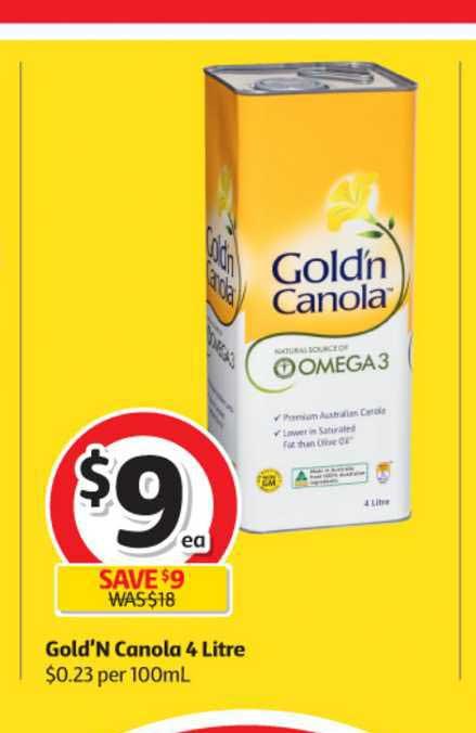 Coles Gold'n Canola 4 Litre