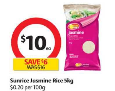 Coles Sunrice Jasmine Rice 5kg