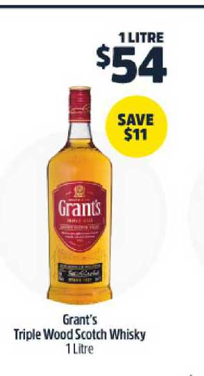 BWS Grant's Triple Wood Scotch Whisky 1 Litre