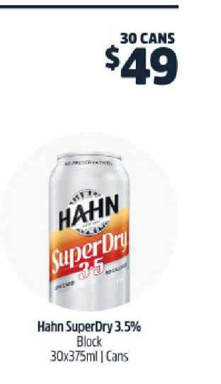 BWS Hahn SuperDry 3.5% Block 30x375ml | Cans
