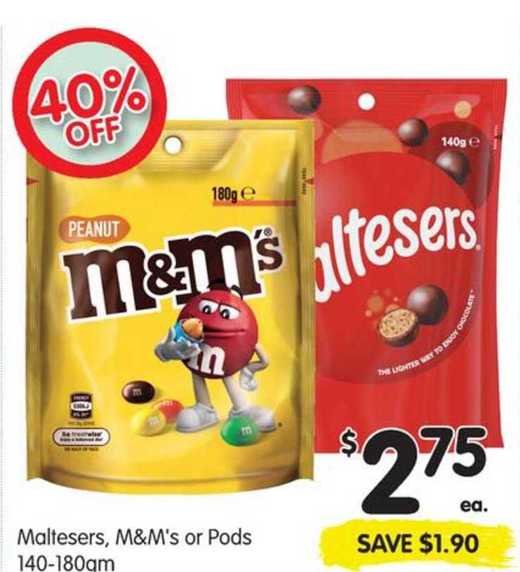 SPAR Maltesers, M&M's Or Pods 140-180gm 40% Off