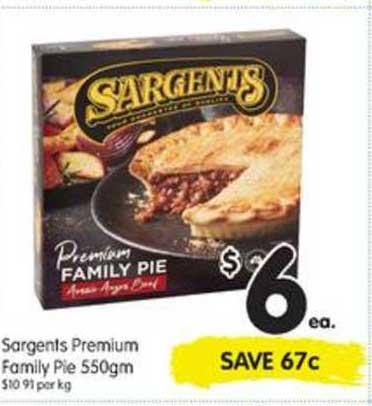 SPAR Sargents Premium Family Pie 550gm