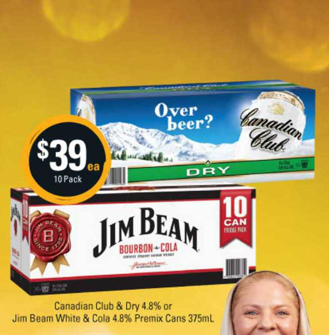 Cellarbrations Canadian Club & Dry 4.8% Or Jim Beam White & Cola 4.8% Premix Cans
