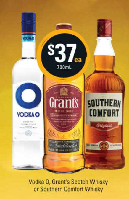 Cellarbrations Vodka O. Grant's Scotch Whisky Or Southern Comfort Whisky