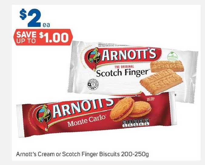 Foodland Arnott's Cream Or Scotch Finger Biscuits 200-250g