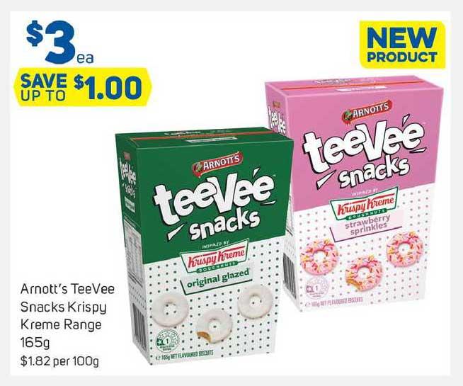 Foodland Arnott's Teevee Snacks Krispy Kreme Range 165g