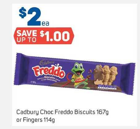 Foodland Cadbury Choc Freddo Biscuits 167g Or Fingers