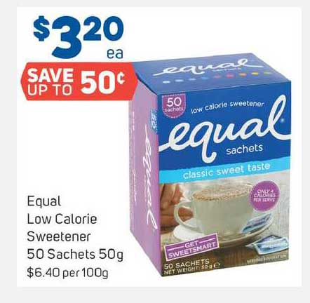 Foodland Equal Low Calorie Sweetener 50 Sachets 50g