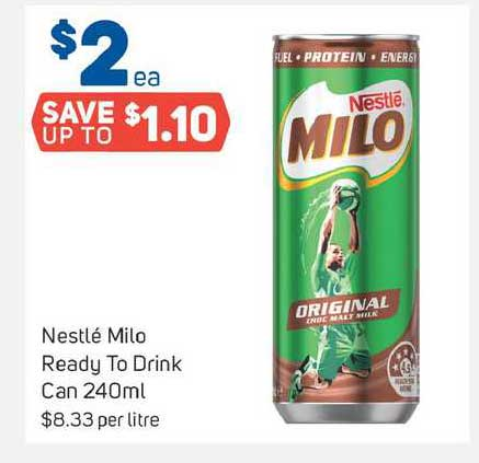 Foodland Nestlé Milo Ready To Drink Can 240ml