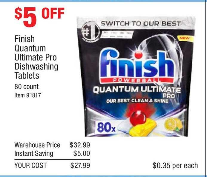 Costco Finish Quantum Ultimate Pro Dishwashing Tablet