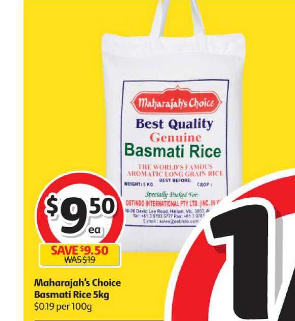 Coles Maharajah's Choice Basmati Rice 5kg
